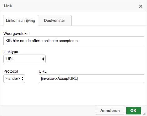 Offerte online accepteren URL protocol